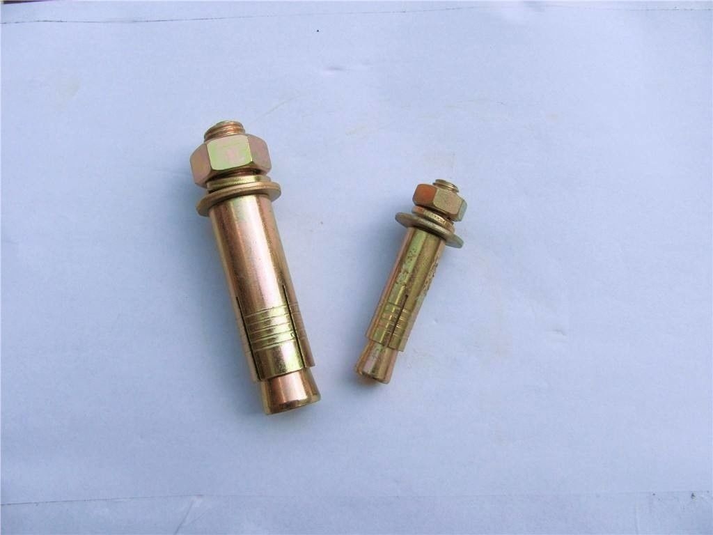 Yellow Zinc M12 Sleeve Anchor Bolt Iron Material With Hex Flange Nut / Flat Washer